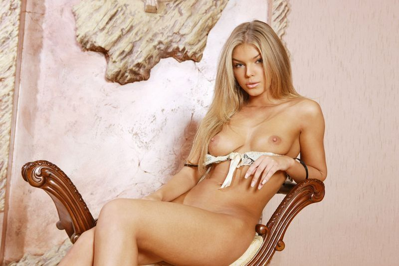 young blonde girl with a nice lace brassiere