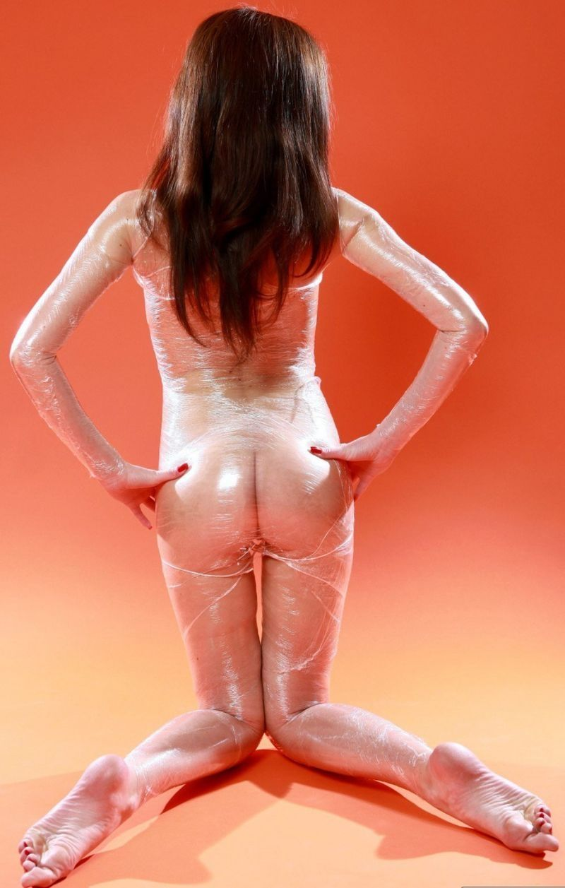 Nude babes in plastic wrap