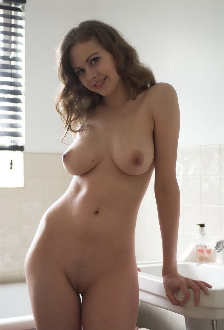 young brunette girl in the bathroom