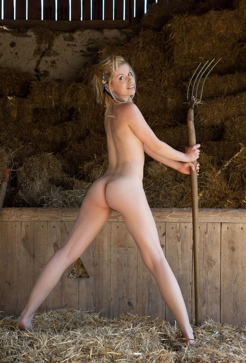 Naked in the barn