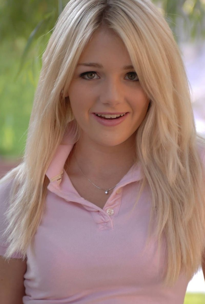 Blond girl strips