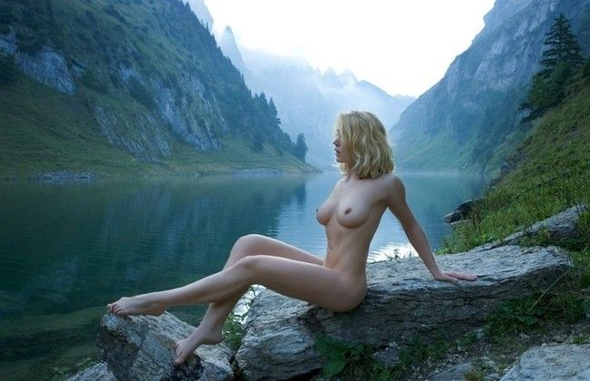 blonde girl in the mountains