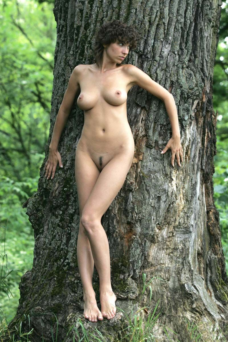 curly brunette girl in the nature at the pond with a big tree