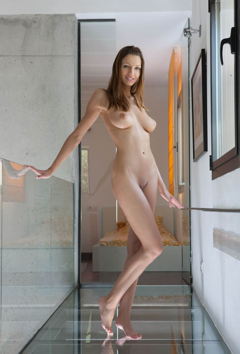 young brunette girl shows off in the glass corridor at home