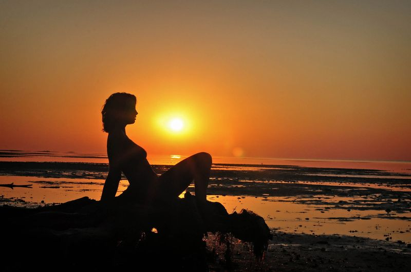 blonde girl tanned on the beach with driftwood during the sunset