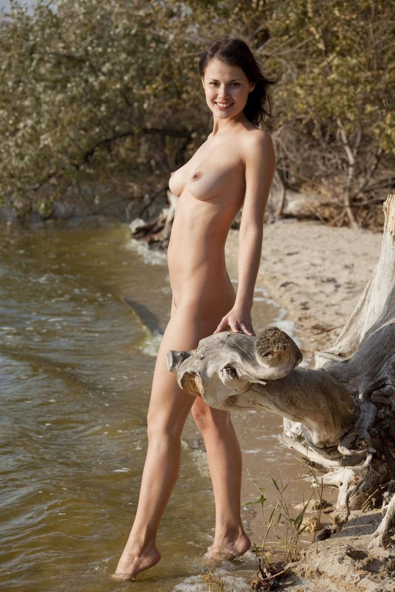 young brunette girl reveals her body near the driftwood on the bank of the river