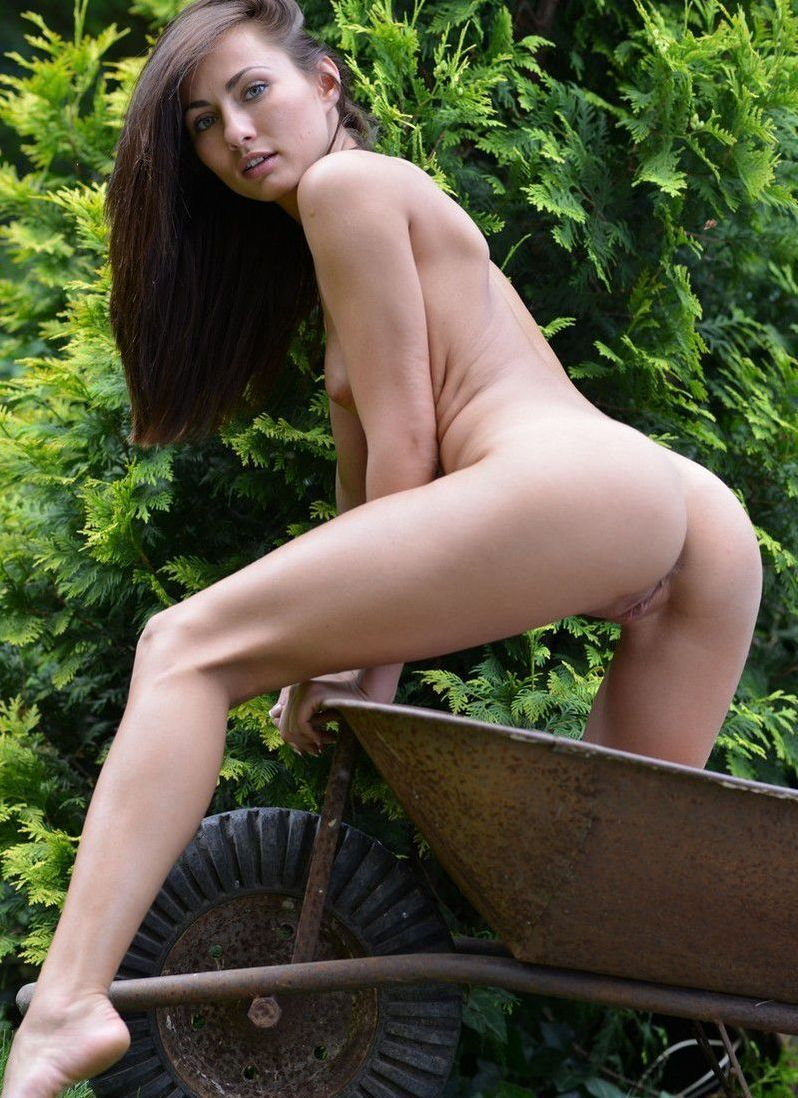 brunette girl reveals her jeans and shirt in the wheelbarrow