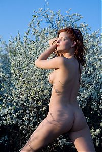 Babes: red haired girl near tree with white flowers