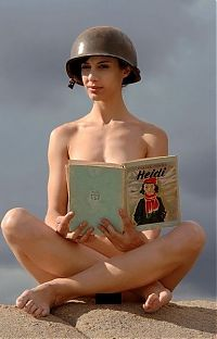 Nake.Me search results: girl with a helmet reading the book about heidi