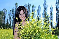 Nake.Me search results: raven haired girl on the field with yellow flowers