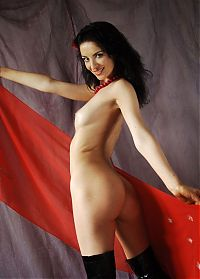 Babes: black haired girl in the studio with a red scarf and black boots