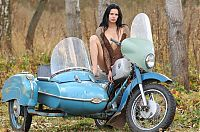 Nake.Me search results: young brunette girl posing on the old sidecar