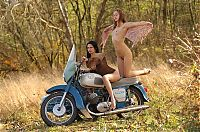 Nake.Me search results: two young girls posing on the old sidecar