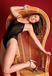 Nake.Me search results: young brunette girl on the wooden chair in transparent bodysuit