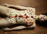 Nake.Me search results: two asian japanese girls practicing a nyotaimori and serving sushi on a naked woman's body