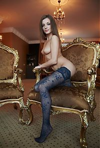 Nake.Me search results: young brunette girl with blue eyes reveals her hold-ups with little blue flowers on the antique royal chair