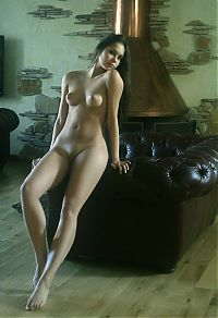 Nake.Me search results: young brunette girl reveals her white negligee in the living room with an antique fireplace