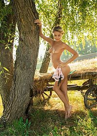 Nake.Me search results: young dirty blonde girl undresses her pink panties at the old hay wagon under the tree