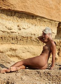 Nake.Me search results: young blonde girl shows off on the sedimentary rocks