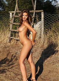 Nake.Me search results: brunette girl reveals her white negligee outside at the fence with a wooden ladder