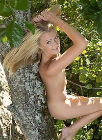 Babes: young blonde girl with green eyes shows off on the tree near the river